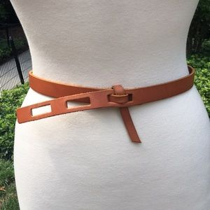 Madewell Tan Leather Slotted Belt